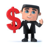 3d Bow tie spy holds a US Dollar symbol Royalty Free Stock Photography