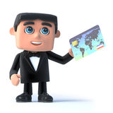 3d Bow tie spy pays with a debit card Stock Photography