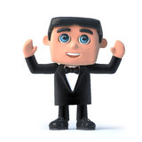 3d Bow tie spy raises his hands in the air Royalty Free Stock Image