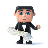 3d Bow tie spy reads his map. 3d render of a man in a tuxedo and bow tie holding a map Stock Images