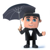 3d Bow tie spy under an umbrella. 3d render of a man in a tuxedo and bow tie holding an umbrella Stock Photography