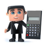 3d Bow tie spy uses a calculator. 3d render of a man wearing a tuxedo and bow tie holding a calculator Stock Photos