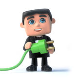 3d Bow tie spy uses green energy Royalty Free Stock Photos