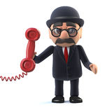 3d Bowler hatted British businessman answers the phone. 3d render of a bowler hatted British businessman answers the phone Royalty Free Stock Photography