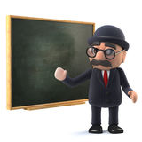 3d Bowler hatted British businessman at the blackboard Stock Photo