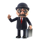 3d Bowler hatted British businessman with briefcase is waving hello. 3d render of a bowler hatted British businessman carrying a briefcase and waving hello Stock Image