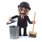 3d Bowler hatted British businessman cleans up. 3d render of a bowler hatted British businessman sweeping up with a broom and trash can Royalty Free Stock Photography