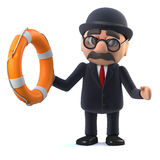 3d Bowler hatted British businessman comes to the rescue Stock Photography