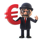 3d Bowler hatted British businessman has Euro currency. 3d render of a bowler hatted British businessman holding a Euro currency symbol Stock Images