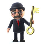 3d Bowler hatted British businessman has a gold key. 3d render of a bowler hatted British businessman holding a gold key Stock Photos