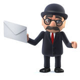 3d Bowler hatted British businessman has mail. 3d render of a bowler hatted British businessman holding an envelope Stock Image
