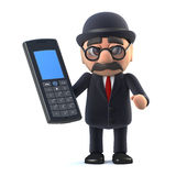 3d Bowler hatted British businessman has a mobile phone Stock Photography