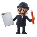 3d Bowler hatted British businessman has a notepad and pencil. 3d render of a bowler hatted British businessman holding a notepad and pencil Royalty Free Stock Image