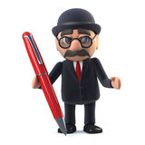 3d Bowler hatted British businessman has a pen. 3d render of a bowler hatted British businessman holding a red pen Royalty Free Stock Photos