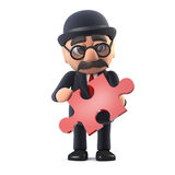 3d Bowler hatted British businessman has a piece of the puzzle Stock Image