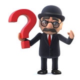 3d Bowler hatted British businessman has a question Stock Photo