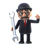 3d Bowler hatted British businessman has a spanner Royalty Free Stock Images