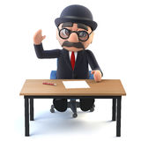 3d Bowler hatted British businessman at his desk Royalty Free Stock Image