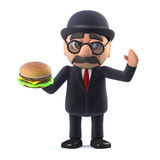 3d Bowler hatted British businessman holding a beef burger. 3d render of a bowler hatted British businessman holding a beef burger Stock Images