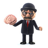 3d Bowler hatted British businessman holding a brain. 3d render of a bowler hatted British businessman holding a human brain in his hands Royalty Free Stock Photos
