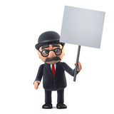 3d Bowler hatted British businessman holding a placard. 3d render of a bowler hatted British businessman holding a blank placard Royalty Free Stock Photography