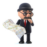 3d Bowler hatted British businessman looks at the map Royalty Free Stock Photography