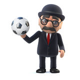 3d Bowler hatted British businessman loves football Royalty Free Stock Image