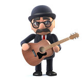 3d Bowler hatted British businessman plays acoustic guitar Royalty Free Stock Images