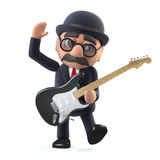 3d Bowler hatted British businessman plays electric guitar Royalty Free Stock Photo
