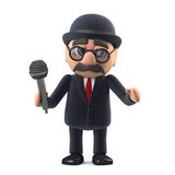 3d Bowler hatted British businessman sings into the microphone. 3d render of a bowler hatted British businessman holding a microphone Royalty Free Stock Images