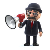 3d Bowler hatted British businessman using a megaphone. 3d render of a bowler hatted British businessman using a megaphone Royalty Free Stock Photography