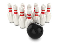 3d Bowling ball hits pins. 3d render of a bowling ball about to hit pins Stock Photos