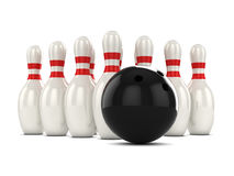 3d Bowling ball and pins. 3d render of a bowling ball about to hit pins Stock Photos