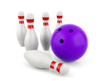 3D bowling and bowling pins. Isolated on white background Stock Photography