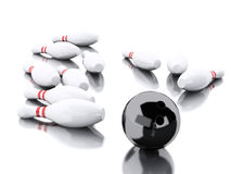 3d Bowling pins and black ball making a strike. Stock Photos
