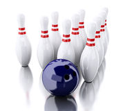 3d Bowling pins and blue ball Stock Photography