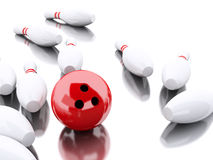3d Bowling pins and red ball making a strike. 3d renderer image. Bowling pins and red ball making a strike.  white background Royalty Free Stock Image