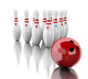 3d Bowling pins and red ball. 3d renderer image. Bowling pins and red ball.  white background Stock Images
