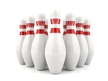 3D bowling pins. With red stripes standing in formation Royalty Free Stock Image