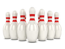 3d Bowling pins. 3d render of a group of bowling pins Stock Photography