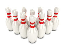 3d Bowling pins. 3d render of ten bowling pins Stock Photo