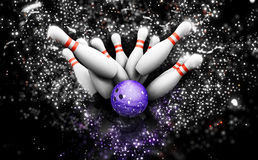 3D bowling skittles with sparkle effect Royalty Free Stock Photos