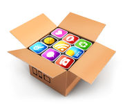 3d box with applications. White background, 3d image Royalty Free Stock Photo