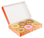 3D Box of donuts. Chocolate Vanilla Strawberry. White background Royalty Free Stock Photos