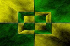 3d box. Illustration of an abstract yellow and green room Stock Photography