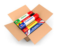 3d box with language books Royalty Free Stock Photos