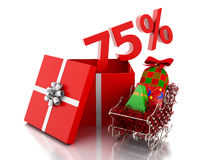 3d box with 75 percent text. Christmas sale concept. Stock Photography