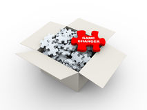 3d box and smart choice puzzle piece. 3d rendering of large red puzzle of game changer  top of heap of puzzle pieces in the box Royalty Free Stock Photos