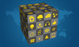 3D Box of social media icons on blue background Stock Photos