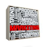 3d box wordcloud tag of marketing concept stock illustration